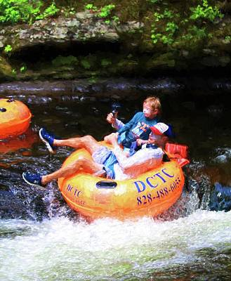 Photograph - Father Son And Gopro Tubing On Deep Creek by Carol Montoya