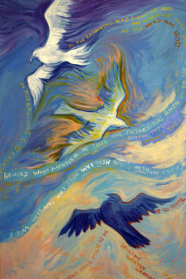 Religious Art Painting - Father Son And Holy Spirit by Jill Iversen