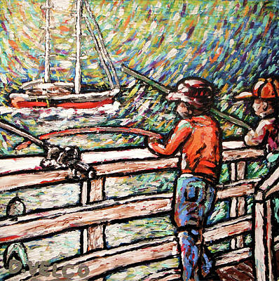 Malibu Painting - Father's Day At The Malibu Pier by Dennis Velco