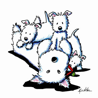 Westie Terrier Drawing - Father's Day Westies by Kim Niles