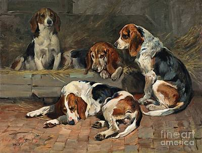 Lazy Dog Painting - Fathers Of The Pack by MotionAge Designs