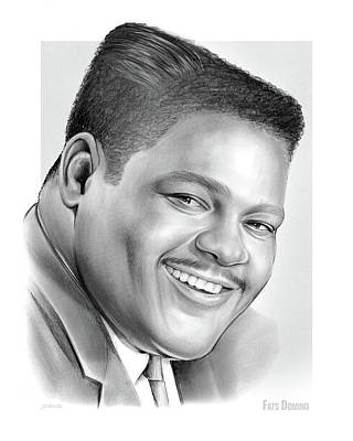 Saxophone Drawing - Fats Domino by Greg Joens