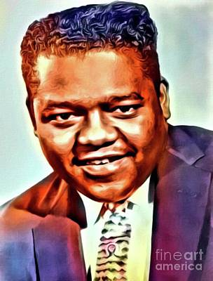Jazz Digital Art - Fats Domino, Music Legend. Digital Art By Mb by Mary Bassett
