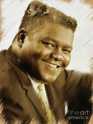 Painting - Fats Domino, Music Legend by Mary Bassett
