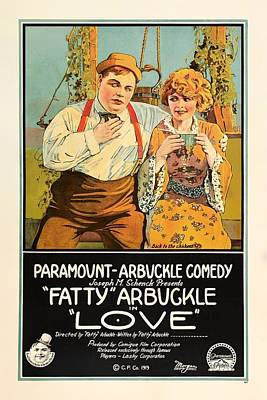 Silent Movie Star Mixed Media - Fatty Arbuckle In Love 1919 by Mountain Dreams