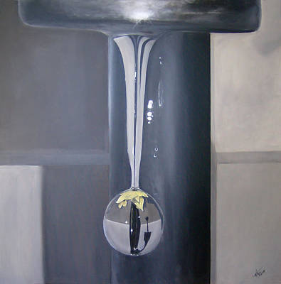 Nickel Yellow Painting - Faucet Flower Drop by Michelle Iglesias