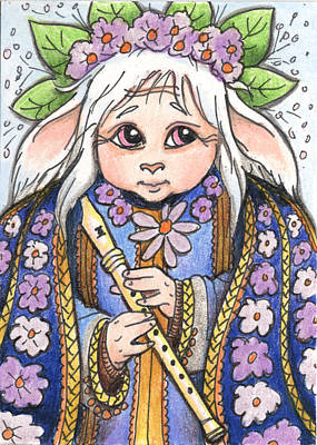 Fantasy Drawings - Faun Flute Player by Amy S Turner