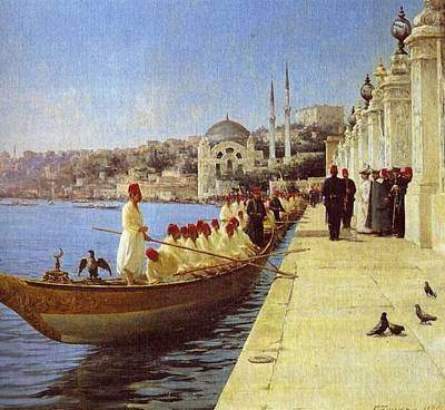 Boating Painting - Fausto Zonaro Boats by Eastern Accents