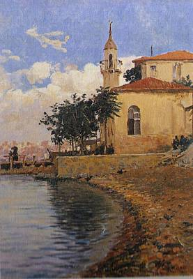 Blue Painting - Fausto Zonaro Mosque by Eastern Accents