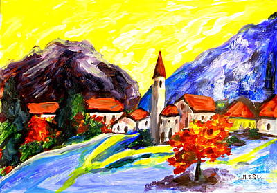 Built Structure Mixed Media - Fauvist Paint Village.    by Maria S Poli