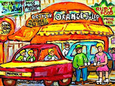 Decarie Hot Dogs Painting - Favorite Dive-in Orange Julep Vintage Montreal Scene Roadside Attraction Art For Sale Carole Spandau by Carole Spandau