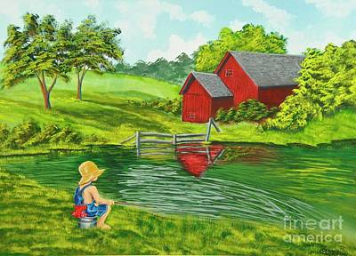 Barn Poster Painting - Favorite Fishing Hole by Charlotte Blanchard