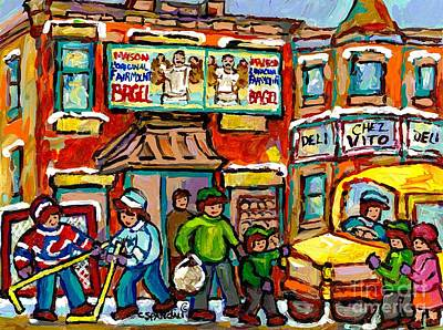 Painting - Favorite Montreal Bagel And Butcher Shops Rue Fairmount Winter Hockey Game Painting For Sale  by Carole Spandau