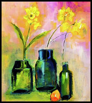 Digital Art - Favorited Framed Floral With Orange Slice Painting by Lisa Kaiser