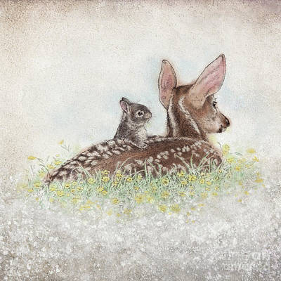 Wall Art - Drawing - Fawn And Bunny by Laurie Musser
