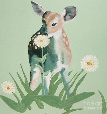Painting - Fawn And Flowers by Terri Thompson