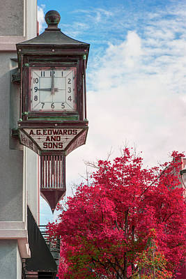 Photograph - Fayetteville Arkansas Clock And Fall Colors by Gregory Ballos