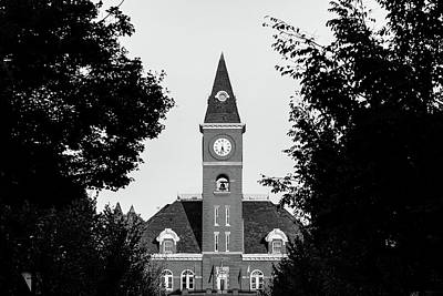 University Of Arkansas Photograph - Fayetteville Arkansas Downtown Courthouse Black And White  by Gregory Ballos