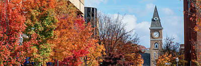 University Of Arkansas Photograph - Fayetteville Arkansas Fall Color Cityscape Panorama by Gregory Ballos