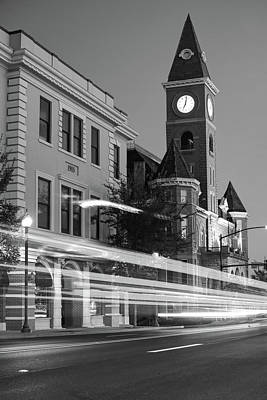Dickson Photograph - Fayetteville Arkansas Skyline At Night In Black And White by Gregory Ballos