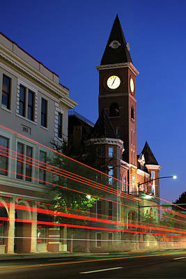 Photograph - Fayetteville Arkansas Skyline Light Trails by Gregory Ballos