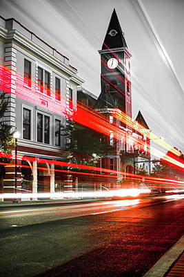 University Of Arkansas Wall Art - Photograph - Fayetteville Arkansas Skyline - Selective Color Light Trails by Gregory Ballos