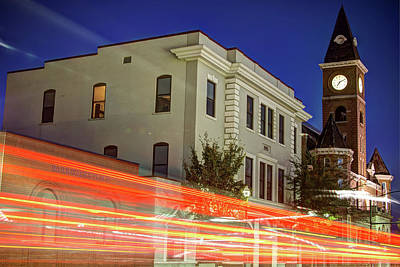 Dickson Photograph - Fayetteville Skyline Long Exposure At Dusk by Gregory Ballos