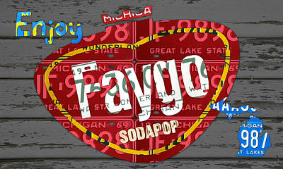 Recycle Mixed Media - Faygo Soda Pop Recycled Vintage Michigan License Plate Art On Gray Distressed Barn Wood by Design Turnpike
