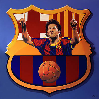 Messi Painting - Fc Barcelona Painting by Paul Meijering