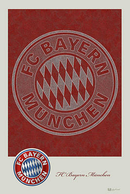 Digital Art - Fc Bayern Munich Logo And 3d Badge by Serge Averbukh