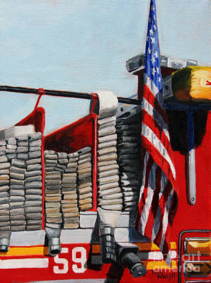 Landmarks Painting Royalty Free Images - FDNY ENGINE 59 American Flag Royalty-Free Image by Paul Walsh