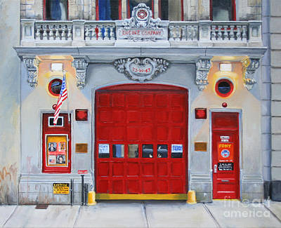 Red Door Painting - Fdny Engine Company 65 by Paul Walsh