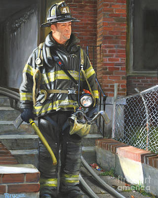 Fdny Painting - Fdny Squad 41 Firefighter by Paul Walsh