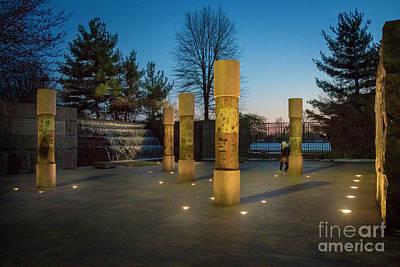 Photograph - Fdr Memorial On A Cold Winter Night by Karen Jorstad