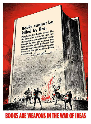 Books Painting - Fdr Quote On Book Burning  by War Is Hell Store