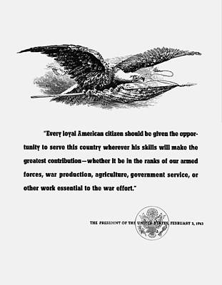 American Eagle Digital Art - Fdr War Quote by War Is Hell Store