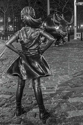 Photograph - Fearless Girl And Charging Bull Nyc by John McGraw