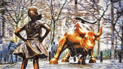 Fearless Girl And Wall Street Bull Statues 12 Art Print