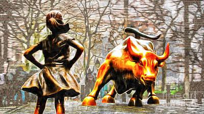 Fearless Girl And Wall Street Bull Statues 14 Art Print