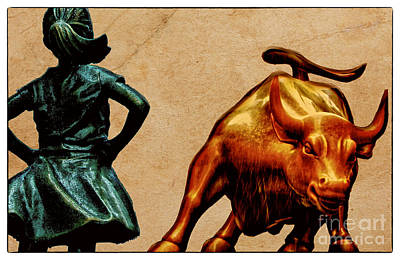 Empowerment International Wall Art - Photograph - Fearless Girl And Wall Street Bull Statues 17 by Nishanth Gopinathan