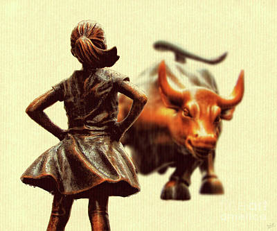 Fearless Girl And Wall Street Bull Statues 18 Art Print