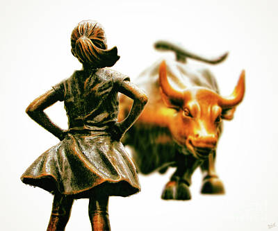 Fearless Girl And Wall Street Bull Statues 21 Art Print