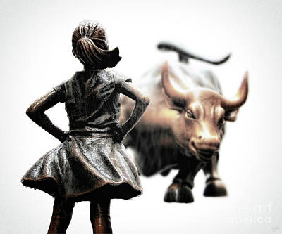 Fearless Girl And Wall Street Bull Statues 22 Art Print