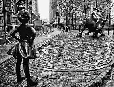 Fearless Girl And Wall Street Bull Statues 3 Bw Art Print