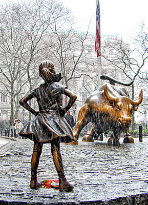 Empowerment International Wall Art - Photograph - Fearless Girl And Wall Street Bull Statues 4 by Nishanth Gopinathan