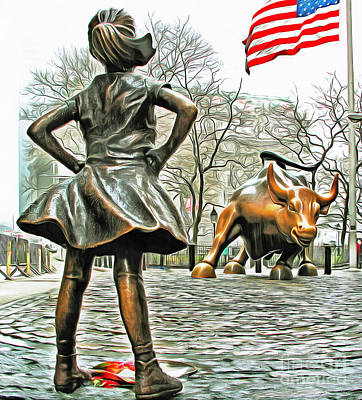 Photograph - Fearless Girl And Wall Street Bull Statues 5 With American Flag by Nishanth Gopinathan