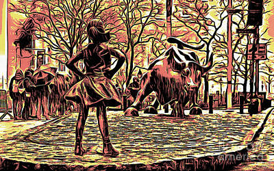 Fearless Girl And Wall Street Bull Statues 7 Monochrome Art Print