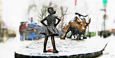 Empowerment International Wall Art - Photograph - Fearless Girl And Wall Street Bull Statues 8 by Nishanth Gopinathan
