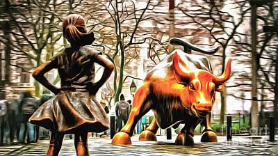 Fearless Girl And Wall Street Bull Statues 9 Art Print