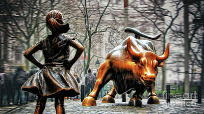 Black And White Flower Photography - Fearless Girl and Wall Street Bull Statues by Nishanth Gopinathan